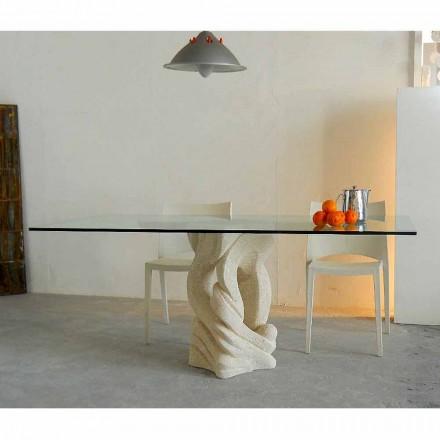 Rechthoekige tafel in Vicenza Ascanio steen, uitgehouwen in mao