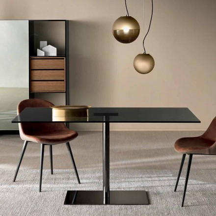 Moderne rechthoekige tafel in gerookt of extreem licht glas gemaakt in Italië - Dolce