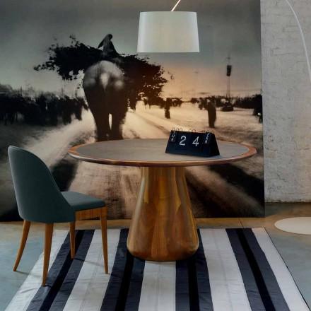 Ronde tafel met massief houten top natuurlijke walnoot, Charles