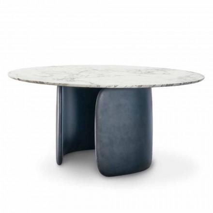 Ronde designtafel met gepolijst marmeren blad Made in Italy - Mellow Bonaldo