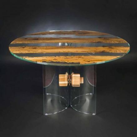 Ronde ontwerp tabel van Venetiaans glas en houten dolfijn