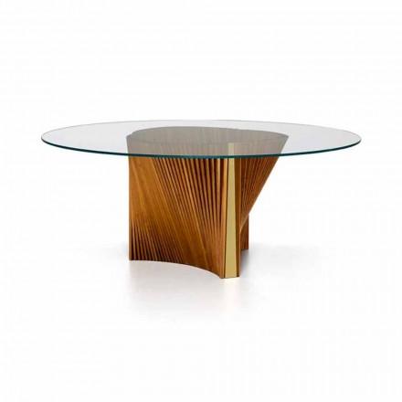 Luxe ronde tafel van glas en geolied essenhout Gemaakt in Italië - Madame