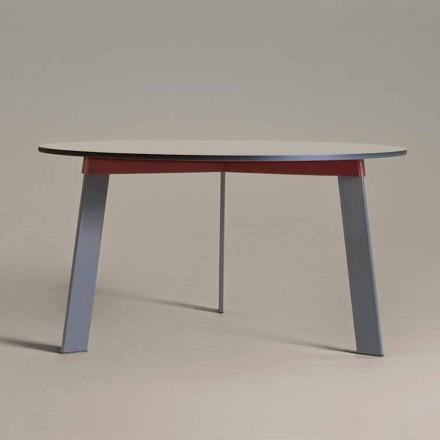 Moderne design ronde tafel in staal en gekleurd gelakt MDF - Aronte