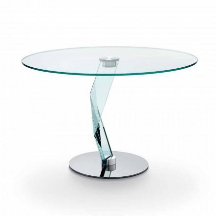 Ronde tafel van modern design in extra helder glas gemaakt in Italië - Akka