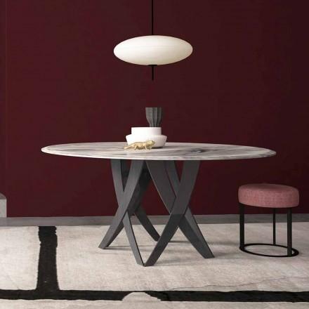 Ronde tafel in imperiaal grijs marmer Diameter 140 cm, gemaakt in Italië - Montereale