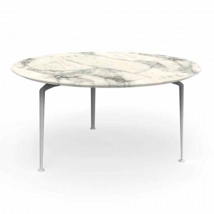 Ronde buitentafel van modern design steengoed en aluminium - Cruise Alu Talenti