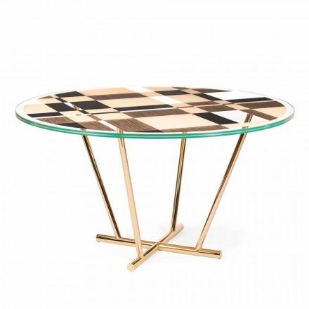 Modeno Ronde tafel met glazen blad en Ozzy houtinleg