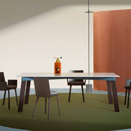 Moderne salontafel in staal met design marmeren blad - Aronte
