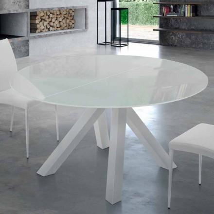Uitschuifbare ronde tafel in gehard glas en staal Gemaakt in Italië - Settimmio