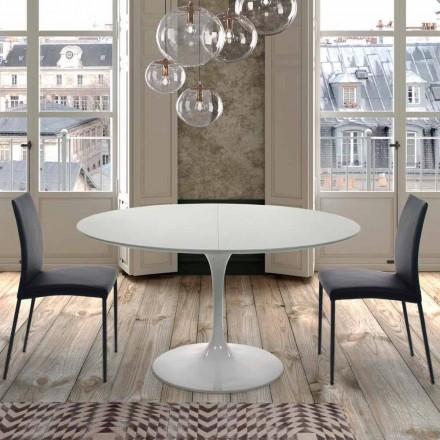 Uitschuifbare ronde tafel tot 170 cm in gelamineerd gemaakt in Italië - dollars