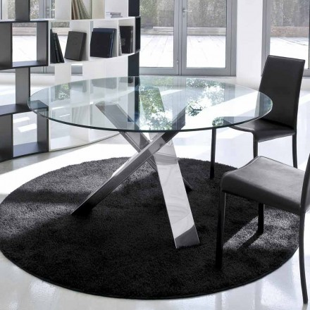 Ronde designtafel d.120 glazen blad gemaakt in Cristal, Italië