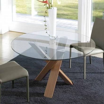 Ronde designtafel d.150 glazen bovenkant gemaakt in Cristal, Italië