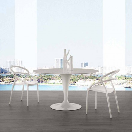 Ronde tafel van 120 cm met witte Carrara-marmeren blad