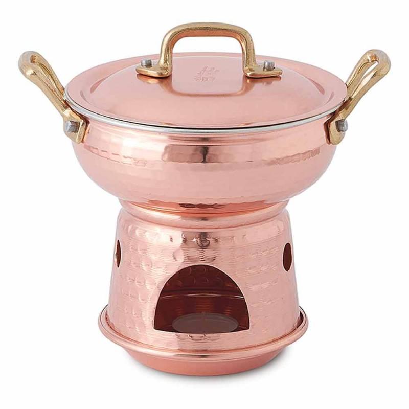 Afgeronde pan voor saus in de hand Vertinde koperen bodem en deksel - Gianmatteo