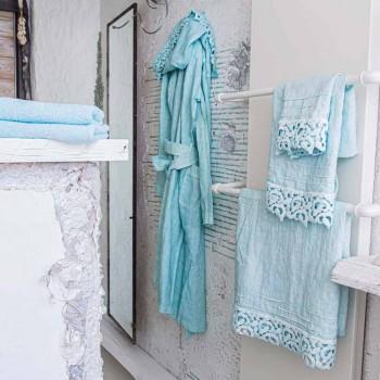 Badhanddoek van zwaar linnen met Poema Lace Italiaanse kwaliteit 2 kleuren - kasteel
