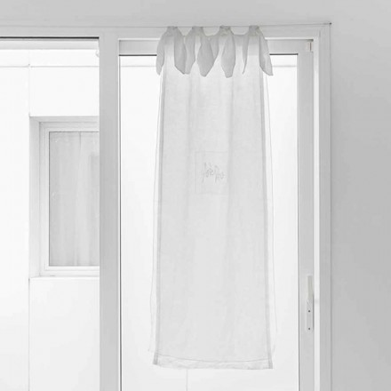 Gordijn met linnen gaas en witte organza met een elegant ontwerp - Tapioca