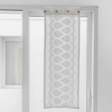 Wit gordijn in licht linnen met gotisch katoenen borduurwerk - Gegia