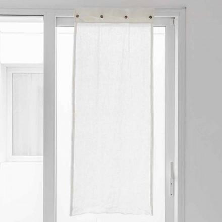 Wit gordijn van licht linnen en parelmoeren knopen - Georgette