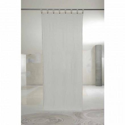 Wit licht linnen gordijn met knopen van luxe design - Geogeo