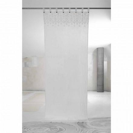 Wit licht linnen gordijn met kant van elegant design Made in Italy - Geogeo