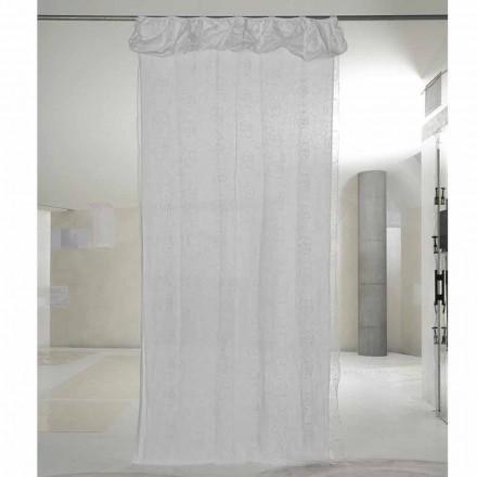 Gordijn van wit linnen en organza met elegant rozenborduurwerk - Mariarosa