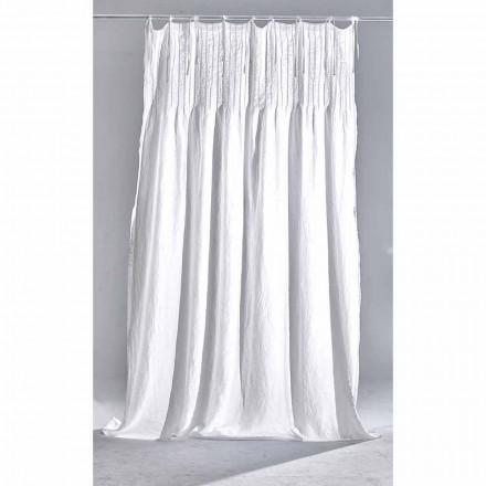 Wit licht linnen gordijn met geribbeld Italiaans kwaliteitsdesign - Tafta
