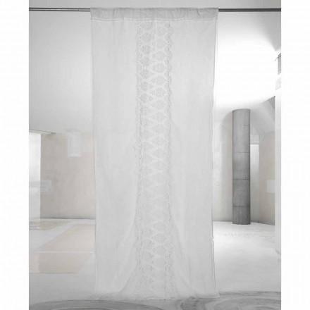 Wit licht linnen gordijn met organza en geborduurd Italiaans luxe - Marinella