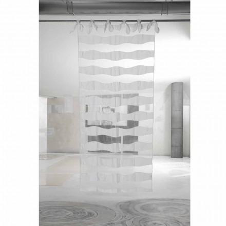 Gordijn van wit linnen en organza met elegant borduurwerk - Oceanomare