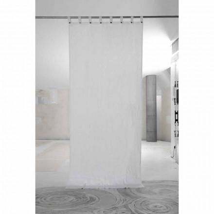 Wit dik linnen gordijn met luxe Italiaanse kwaliteitsknopen - Gorgia