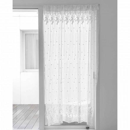 Wit tule gordijn met stippen en bloemen borduurwerk, Design - Eucariota