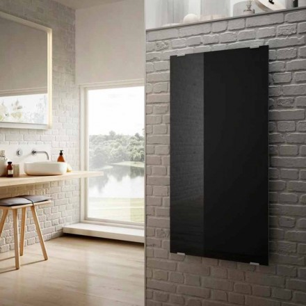 Elektrische radiatoren in modern design Star zwart glas, gemaakt in Italië