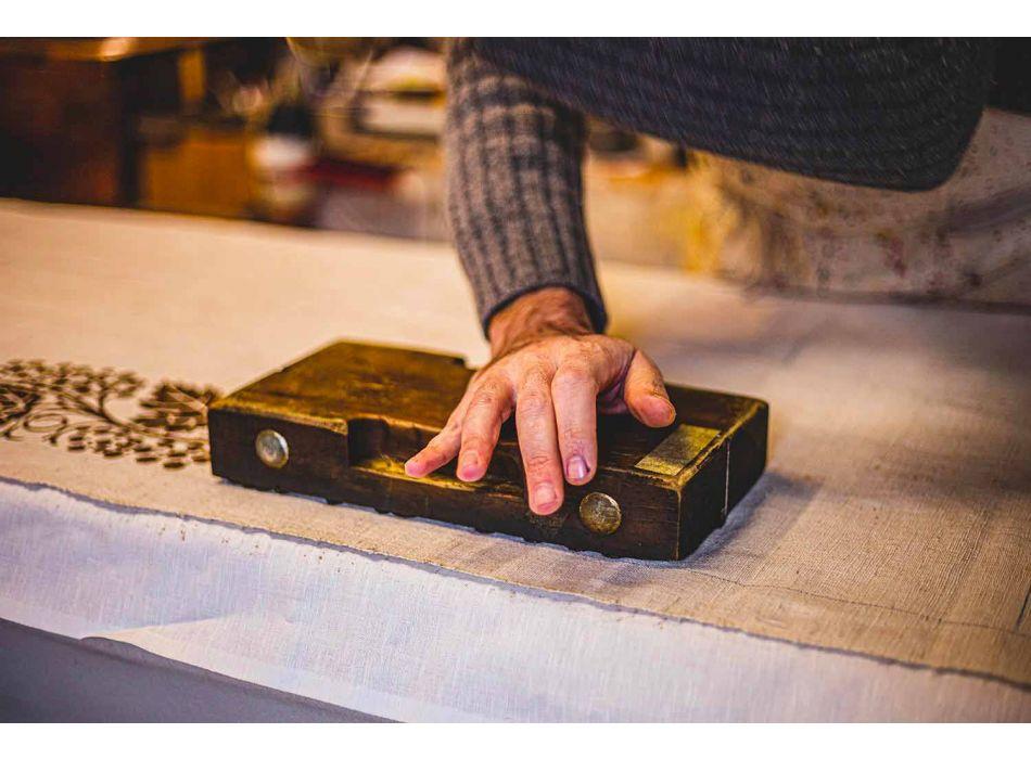 Handgedrukt artistiek tafelkleed Uniek stuk Italiaanse ambachtelijke merken