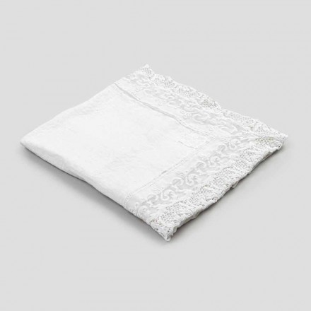 Vierkant linnen tafelkleed met kanten wit luxe design gemaakt in Italië - Olivia