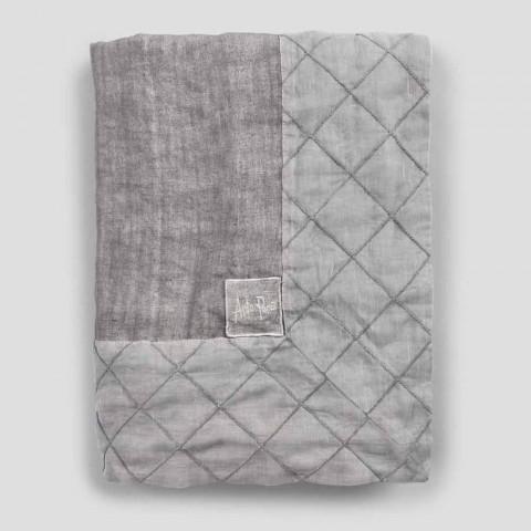 Antraciet linnen tafelkleed en rand met geometrisch decor, handgemaakt - Dippel
