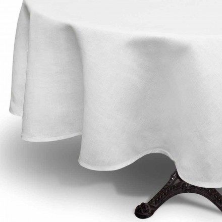 Ronde crème wit linnen tafelkleed handgemaakt in Italië - Blessy