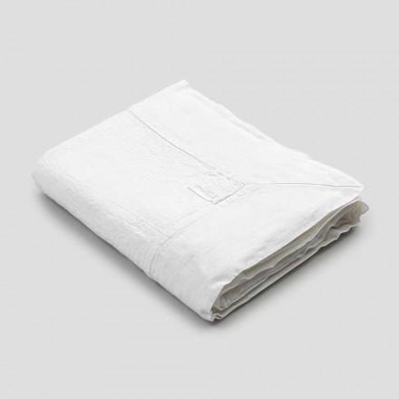 Rechthoekig linnen tafelkleed met rand of wit kant, luxe design - Davinci