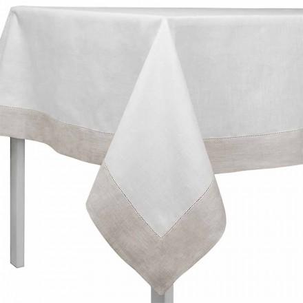 Rechthoekig of vierkant wit en natuurlijk linnen tafelkleed Made in Italy - Chiana