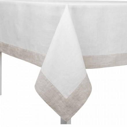 Wit en natuurlijk linnen tafelkleed, rechthoekig of vierkant Made in Italy - Poppy