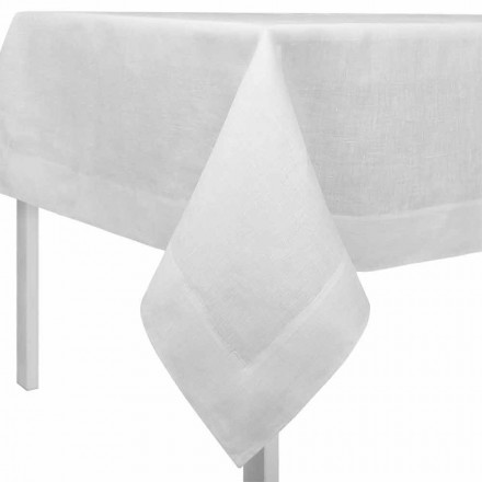 Rechthoekig of vierkant tafelkleed in crèmewit linnen, gemaakt in Italië - klaproos