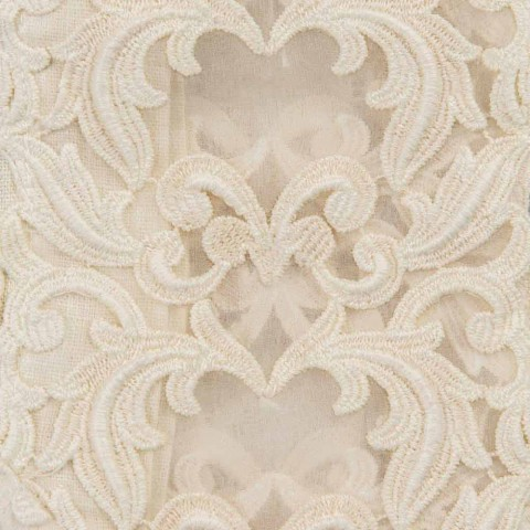 Beige linnen vierkant tafelkleed met handgemaakte luxe Farnese kant - Kippel