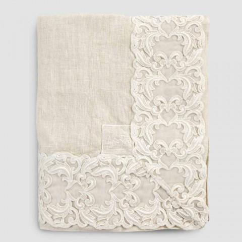 Beige linnen rechthoekig tafelkleed met Farnese luxe artisanaal kant - Kippel