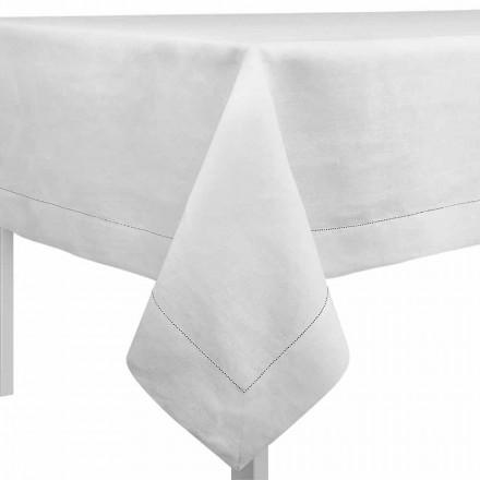 Rechthoekig of vierkant tafelkleed in crèmewit linnen gemaakt in Italië - Chiana