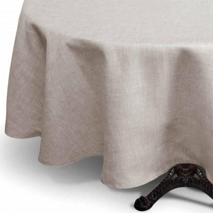 Rond tafelkleed van puur linnen in natuurlijke kleur Made in Italy - Blessy