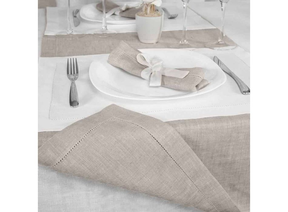 Amerikaanse placemat in zuiver wit of natuurlijk linnen Made in Italy - Chiana