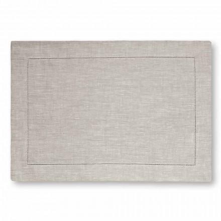 Amerikaanse placemat in zuiver wit of natuurlijk linnen Made in Italy, 2 stuks - Chiana