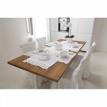 Placemat in zuiver wit linnen met lijst of kant Made in Italy - Davincino