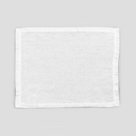 2 Placemats van zuiver wit linnen met rand of kant, ontwerp Made in Italy - Davincino