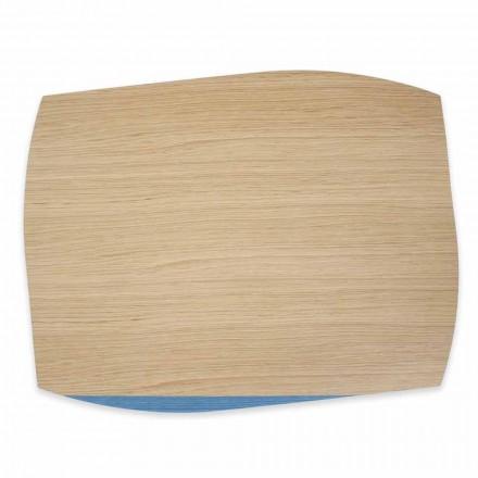 4 moderne rechthoekige placemats in eikenhout gemaakt in Italië - Abraham
