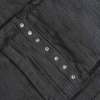 Amerikaanse placemats en bestekbakken met kristallen in zwart linnen, 4-delig - Nabuko