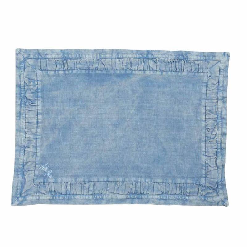Amerikaanse placemats in blauw linnen of rug met reliëf, 2 stuks - Milone